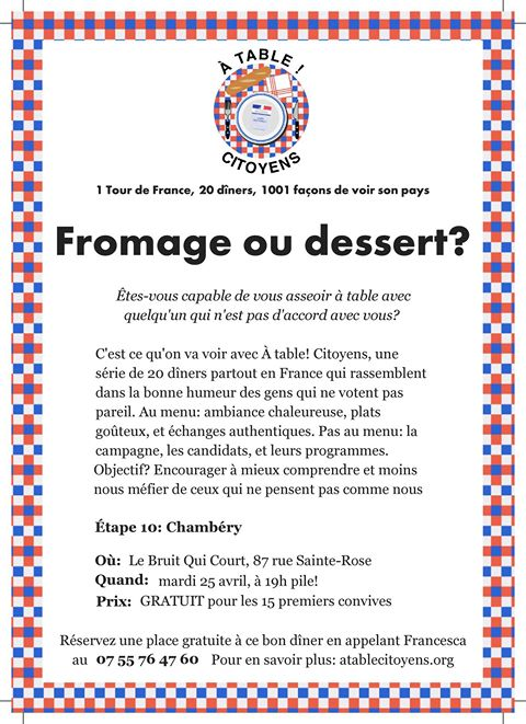 Fromage ou dessert ? À table ! Citoyens